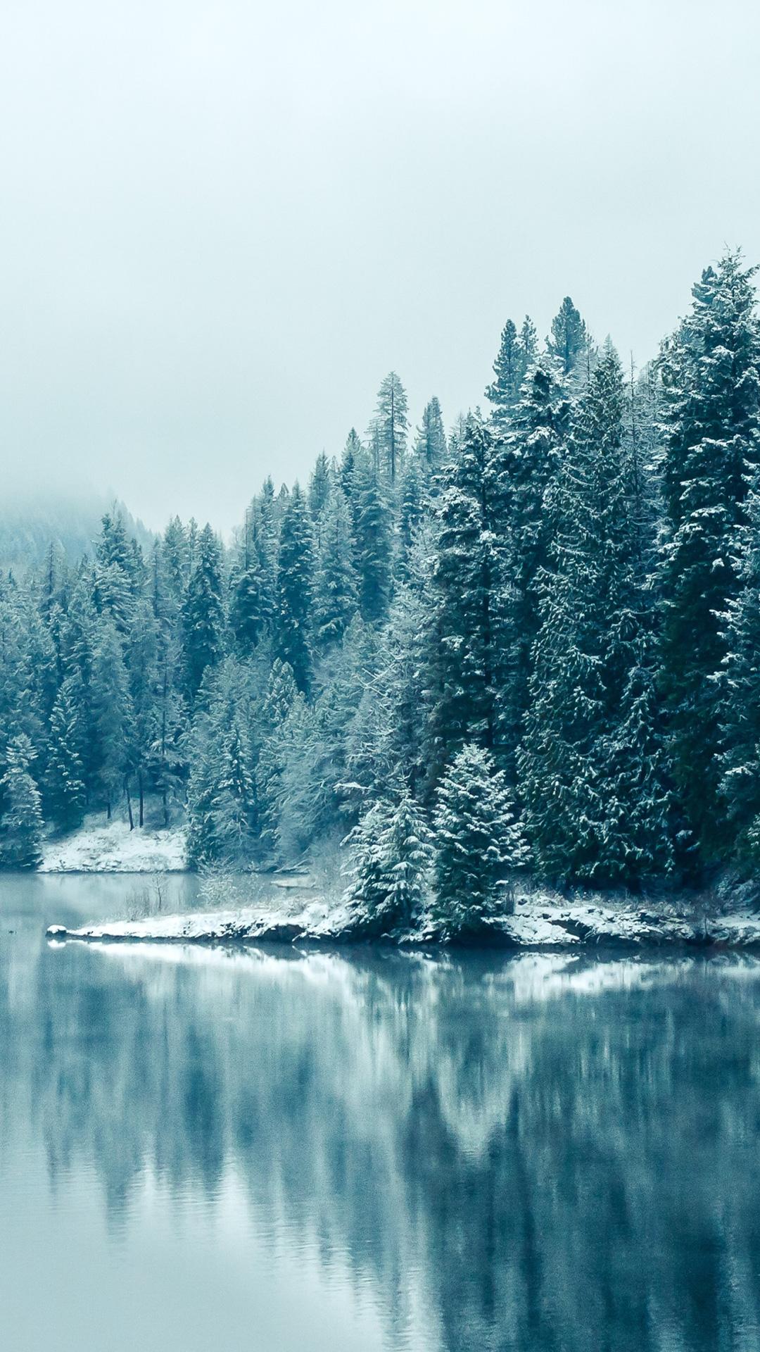 Winter Lake iPhone Wallpaper HD