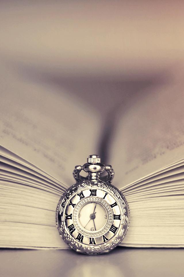 Clock and Book Wallpaper
