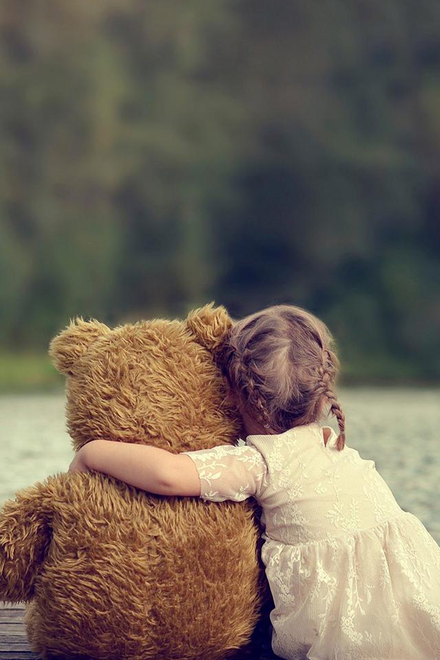 Girl and Bear Wallpaper