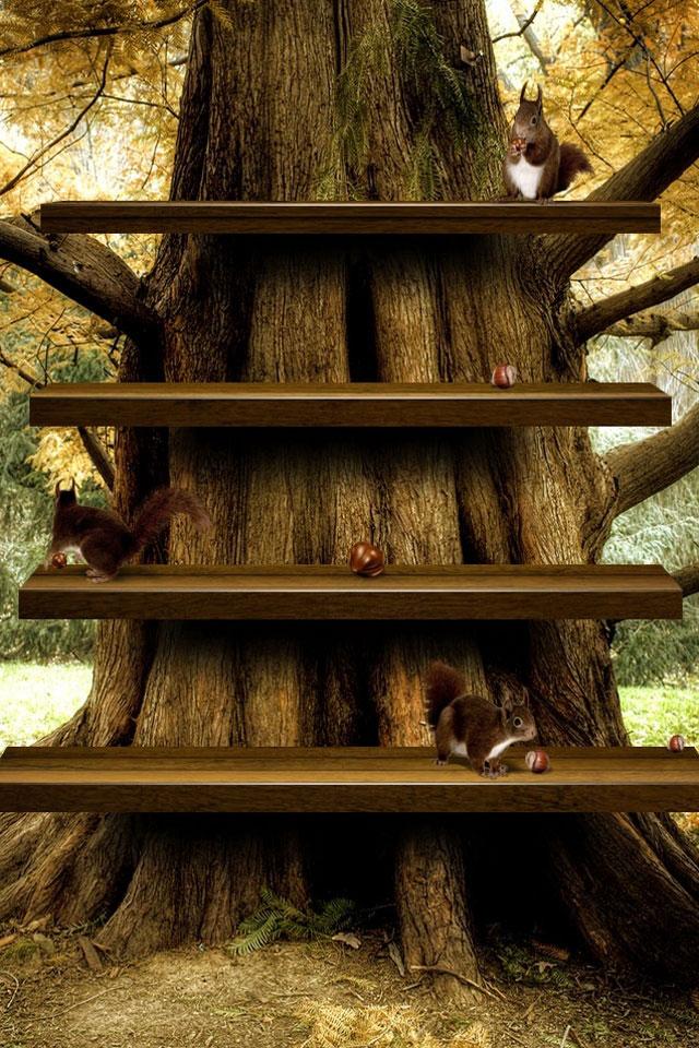 Tree Shelf Wallpaper