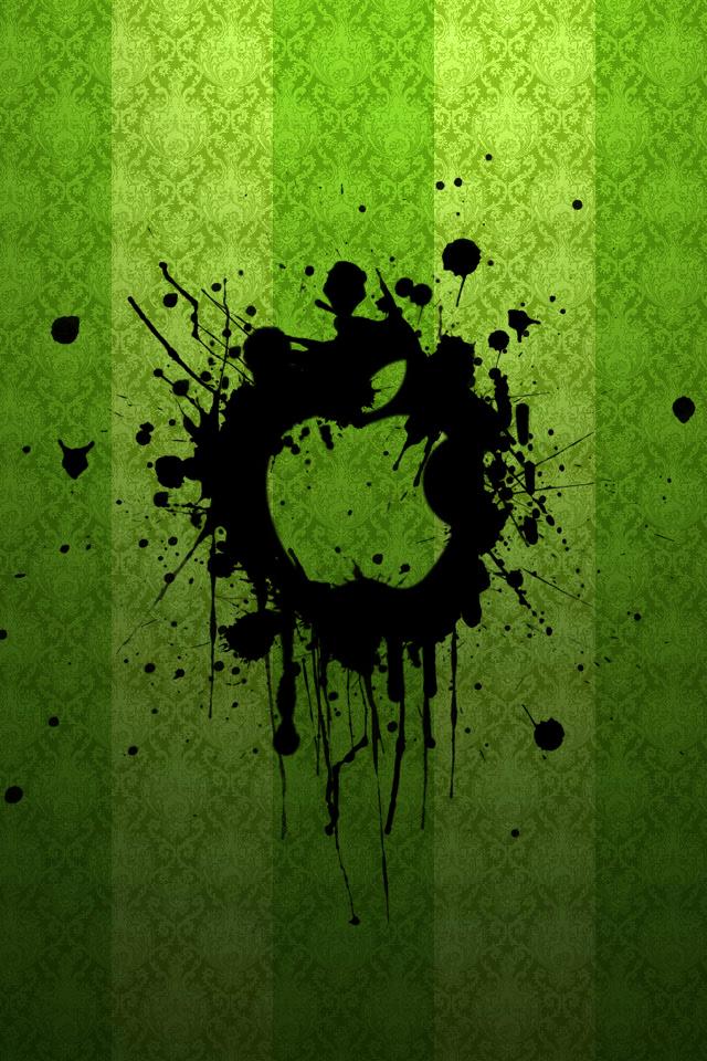 Green Ink Apple Wallpaper