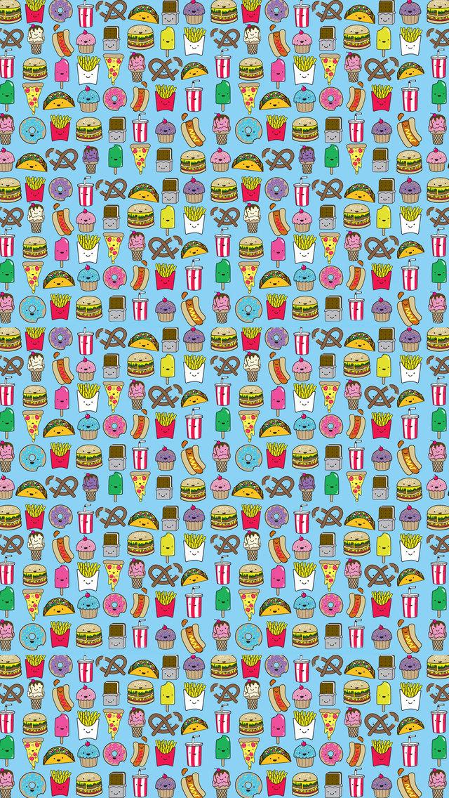 Junk Food Pattern IPhone Wallpaper HD