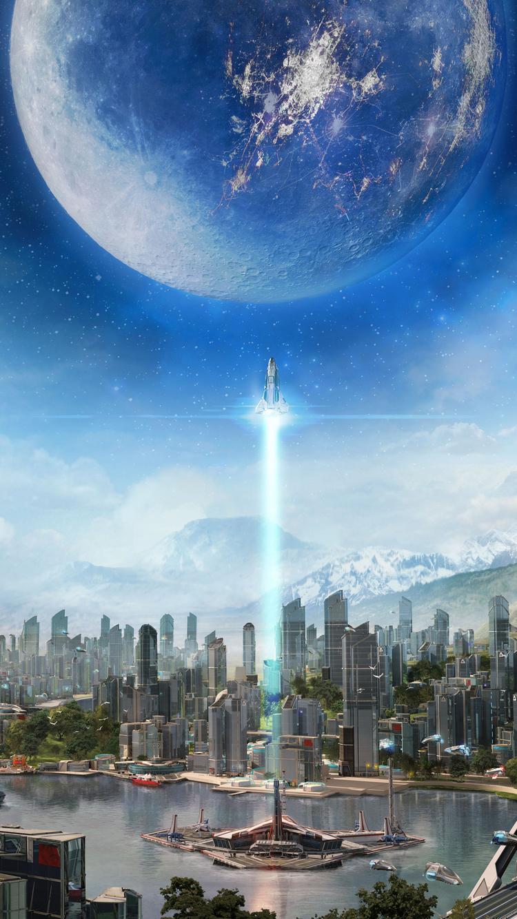 Scifi City iPhone Wallpaper HD