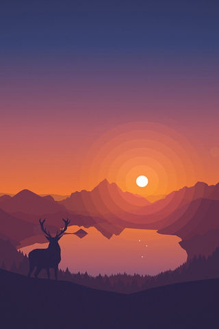 Deer before Sunset